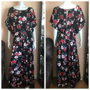 NWOT Modcloth Black Red Pink Floral Maxi Dress 2X